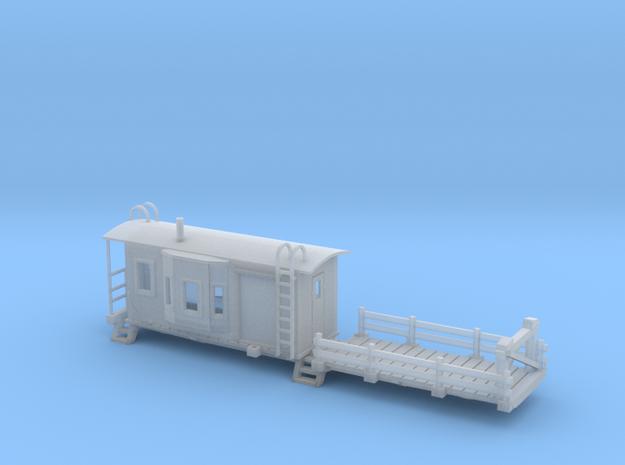 Bay Window Caboose Flat Car HO Scale 3d printed
