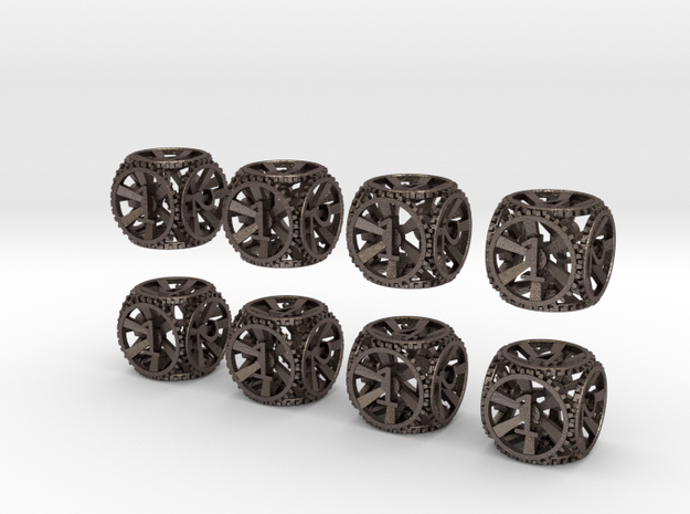 Gear Dice - D6 8 Pack in Polished Bronzed Silver Steel