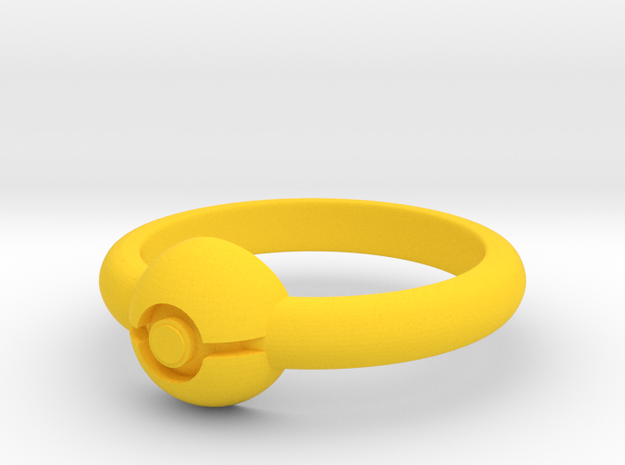 Pokeball Ring-Thin Band (Edit size in description) 3d printed