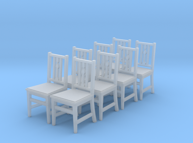 1:48 Arts & Crafts Chair, Set of 8 in Smooth Fine Detail Plastic