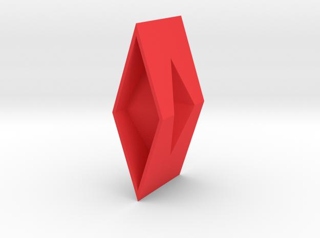Diamond Torus Pendant in Red Processed Versatile Plastic