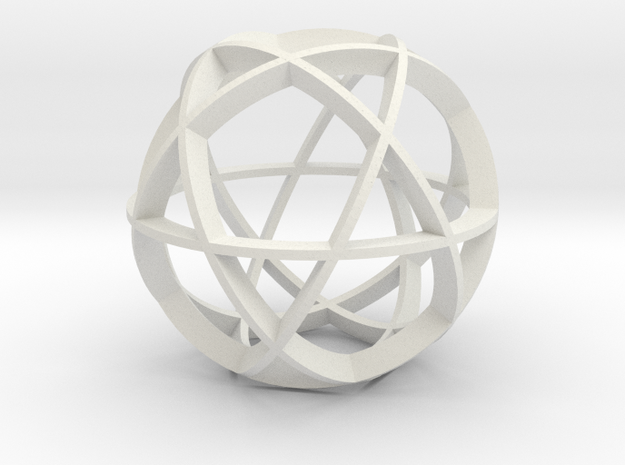 Icosidodecahedron (narrow) in White Natural Versatile Plastic