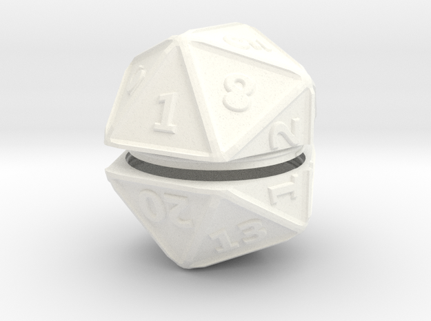 D20 Container in White Strong & Flexible Polished