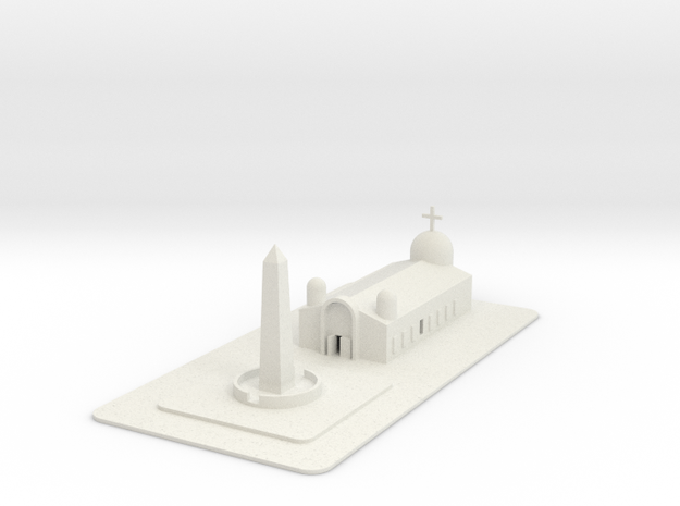 1/700 Town Square And Church in White Natural Versatile Plastic