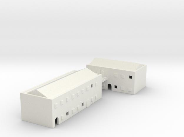 1/700 Town Buildings in White Natural Versatile Plastic