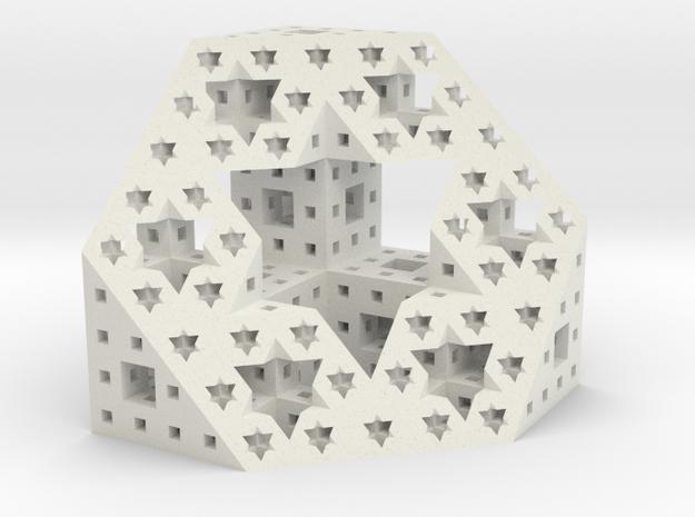Starry cut of the Menger Sponge in White Natural Versatile Plastic
