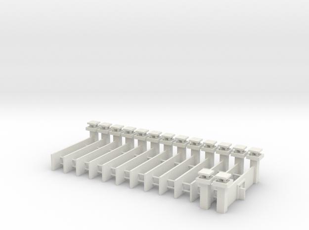 1/700 Prison Camp Wall Set (x14) in White Natural Versatile Plastic