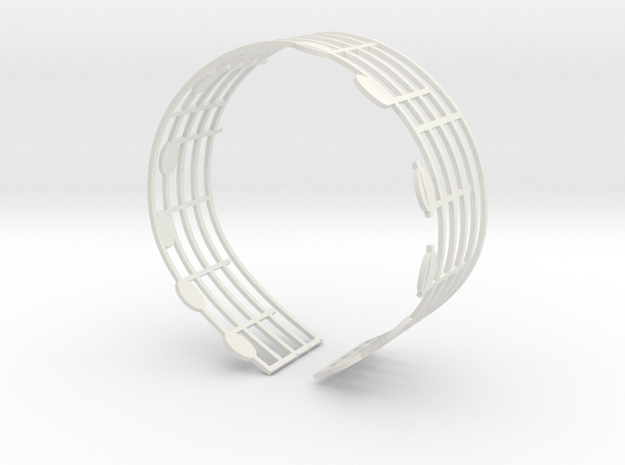 Music Bracelet - Ode to Joy in White Natural Versatile Plastic