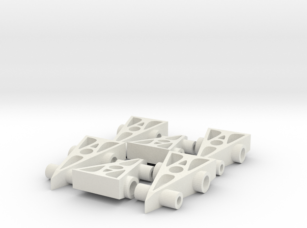 6 F1 Car Game Pieces in White Strong & Flexible