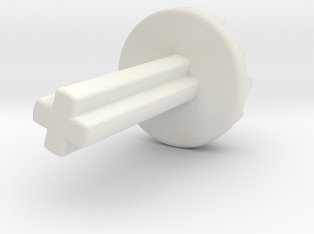 12 tooth bevel with axle  in White Natural Versatile Plastic