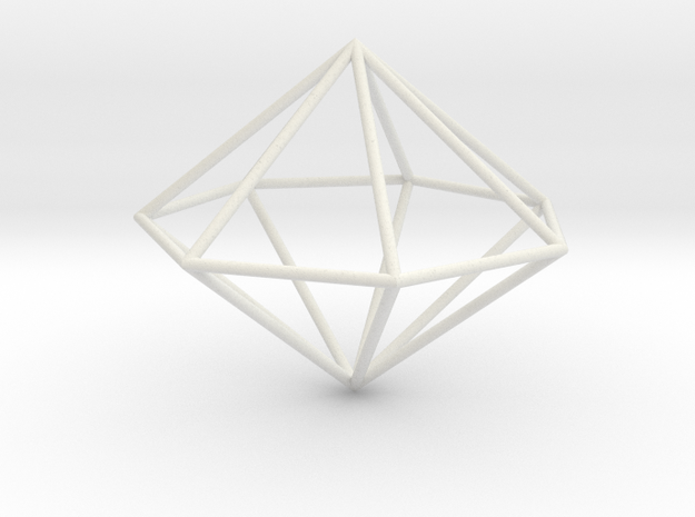 heptagonal dipyramid 70mm in White Natural Versatile Plastic