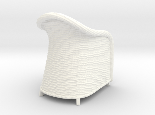 Wicker Chair in 1:12, 1:24 in White Processed Versatile Plastic: 1:12