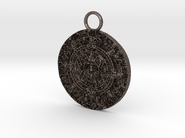 mayan pendant 3c5 thin2 in Polished Bronzed Silver Steel