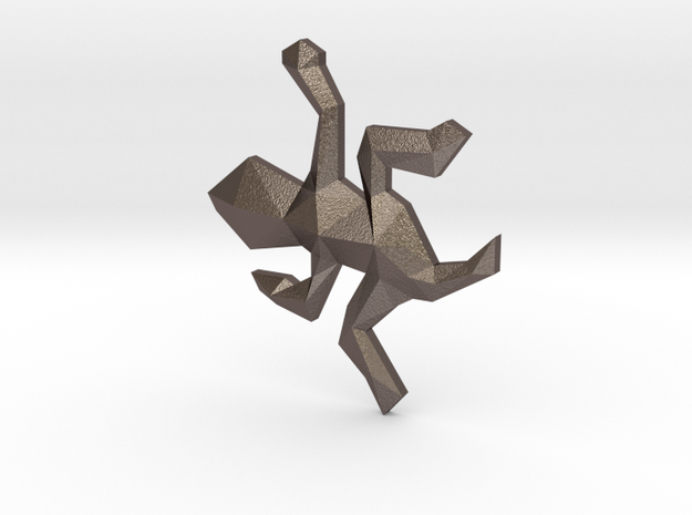 Escher Low Poly Lizard Pendant in Polished Bronzed Silver Steel