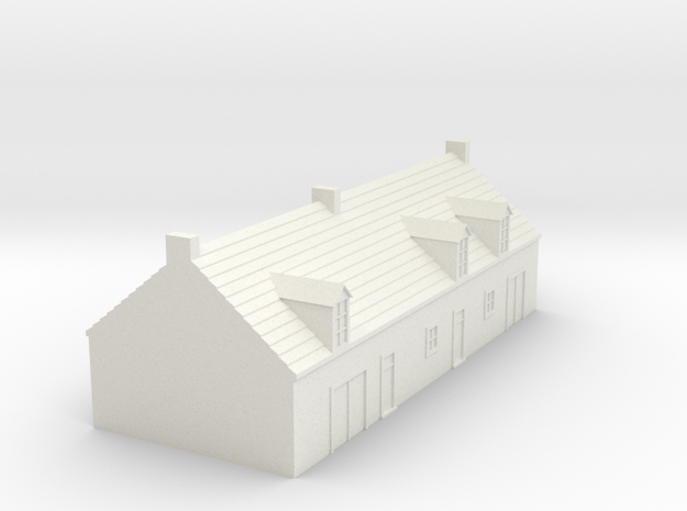 1/350 Village House 1 in White Natural Versatile Plastic