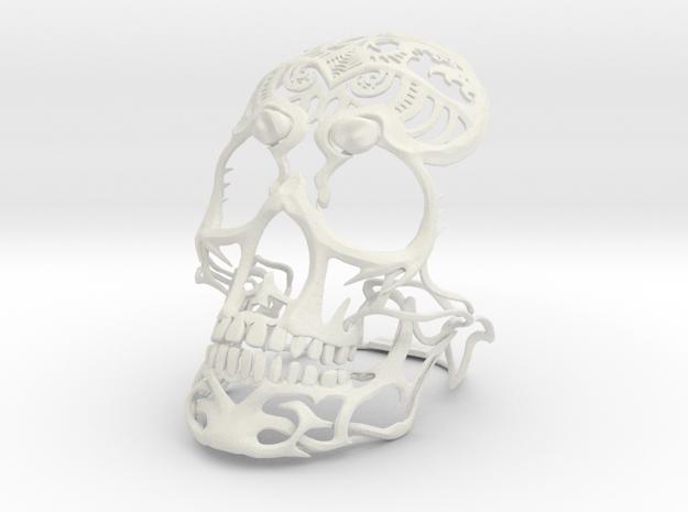 Skull sculpture Tribal Sugar 100mm in White Natural Versatile Plastic