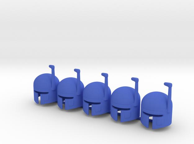5 x SciFi Type G helmet in Blue Processed Versatile Plastic