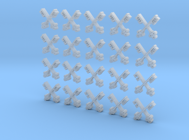 20 8mm Tall Cross Key Icons in Smooth Fine Detail Plastic