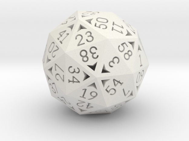 60 Sided Die - Small in White Strong & Flexible