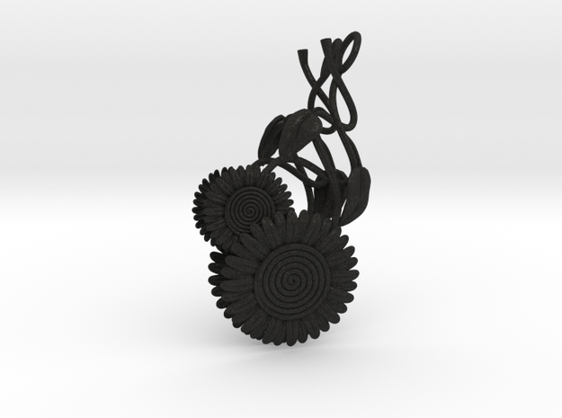 Dangling Sunflower Earrings 3d printed