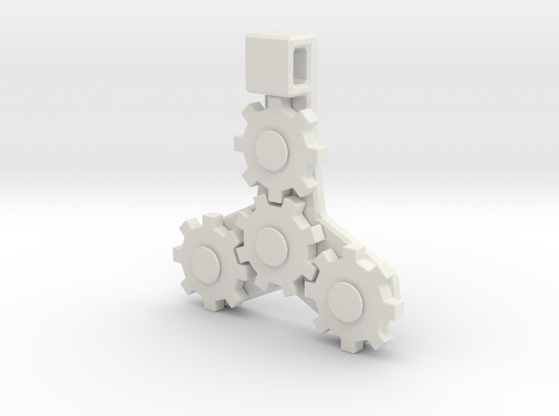 Gear Pendant in White Natural Versatile Plastic