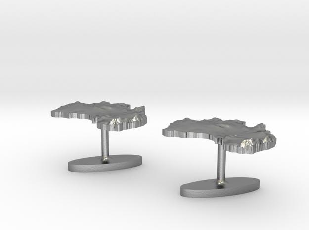 Australia Terrain Cufflink - Plate (2x) in Raw Silver