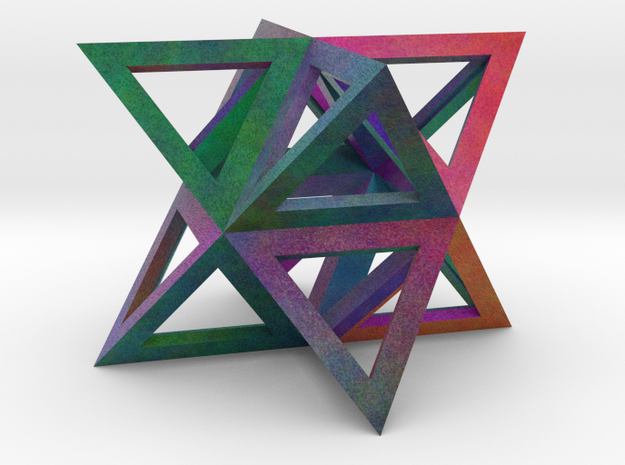 Colorful Stellated Octahedron Frame in Full Color Sandstone