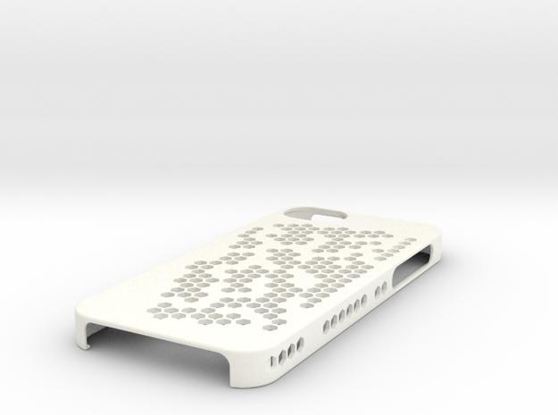 """iPhone 5 Case - """"Hex Holes"""" in White Processed Versatile Plastic"""
