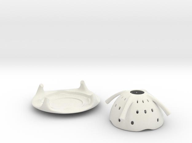 Saucer TeaLight  in White Strong & Flexible