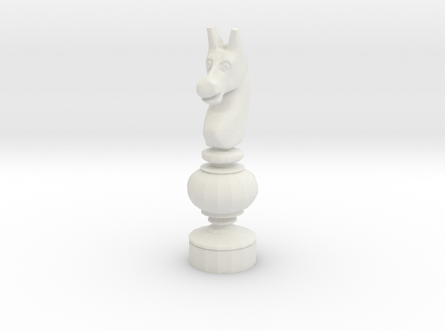 Smaller Staunton Knight Chesspiece in White Natural Versatile Plastic
