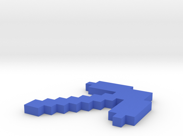 Minecraft pickaxe in Blue Processed Versatile Plastic