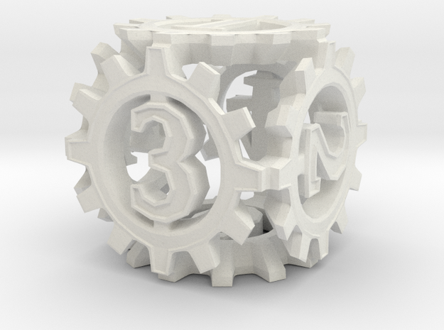 D6 Gear Type 1-(Steampunk/Cog Tinge) in White Strong & Flexible