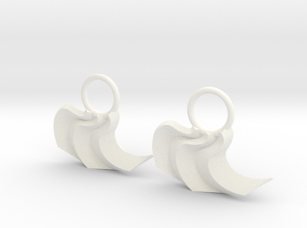 Origami:  Curve Fold Earrings in White Processed Versatile Plastic
