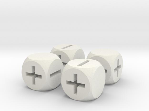 Basic Fudge Dice HOLLOW (x4) Fate dF 3d printed