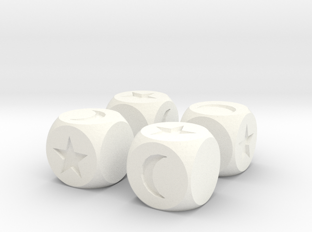 Moon & Stars Fudge Dice (x4) SOLID Fate df in White Strong & Flexible Polished
