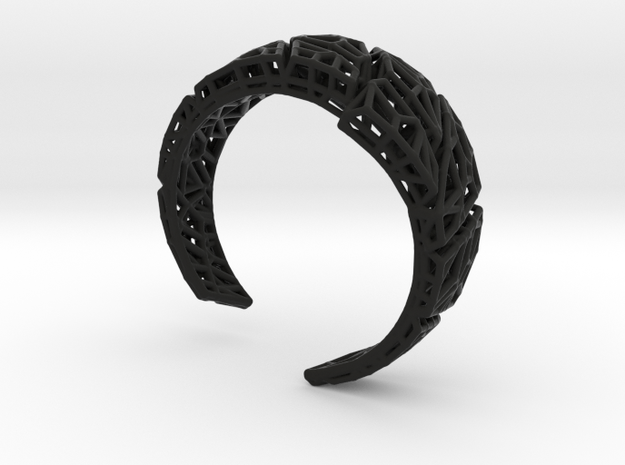 VoronoiBracelet v020.5 Medium Rare (a stronger v02 in Black Natural Versatile Plastic