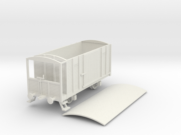 1/100 (15mm) scale Soviet 2 axle box car brake in White Strong & Flexible