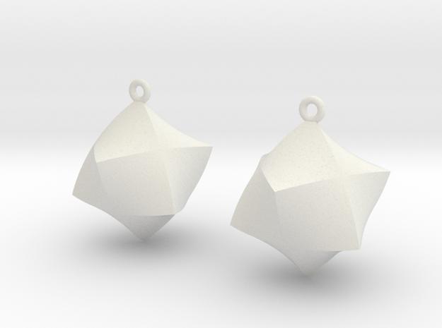 Merkaba Solid Earrings in White Natural Versatile Plastic