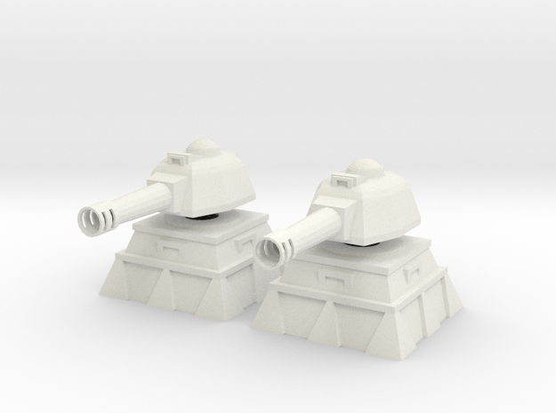 28mm Tank Cannon Turret and Bunker (x2) in White Natural Versatile Plastic