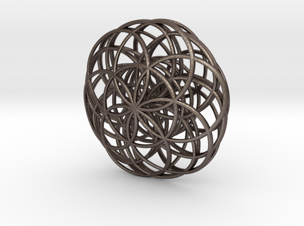 Flower of Life Charm in Polished Bronzed Silver Steel