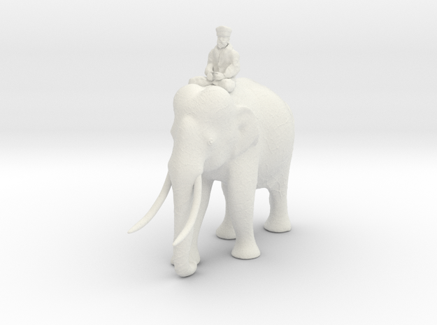 indianelephant rider 280mm in White Natural Versatile Plastic