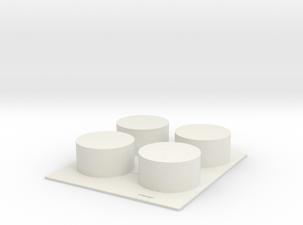 1/700 Fuel Tank Farm (x4) in White Natural Versatile Plastic