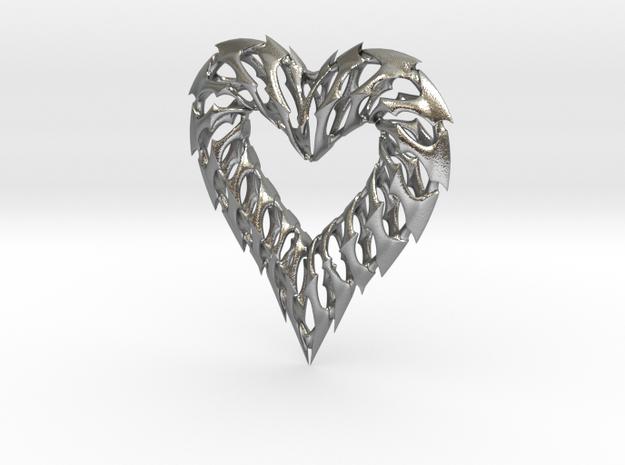 Rib Heart 02 in Natural Silver