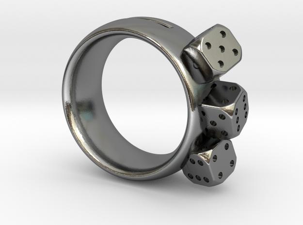 Ring Würfel/Dice 01, 19mm in Polished Silver