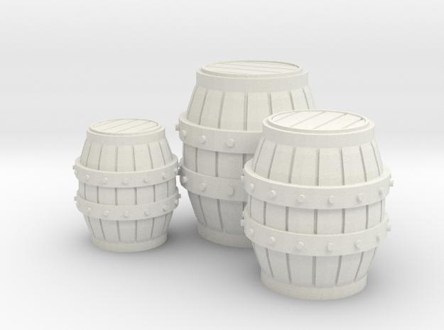 Medieval Barrels Colorful in White Natural Versatile Plastic