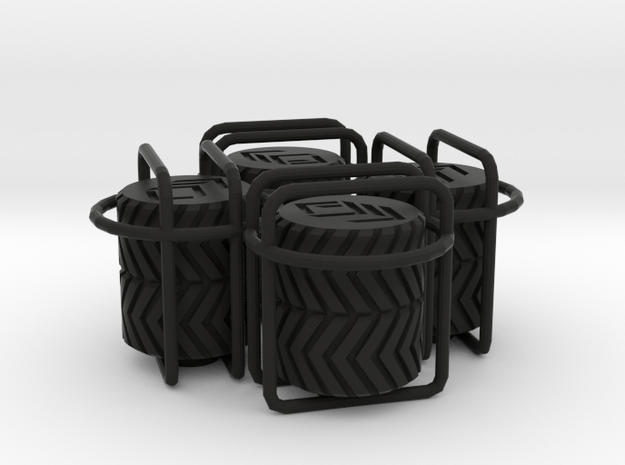 4x Double Tyre Tread tire valve cap 3d printed