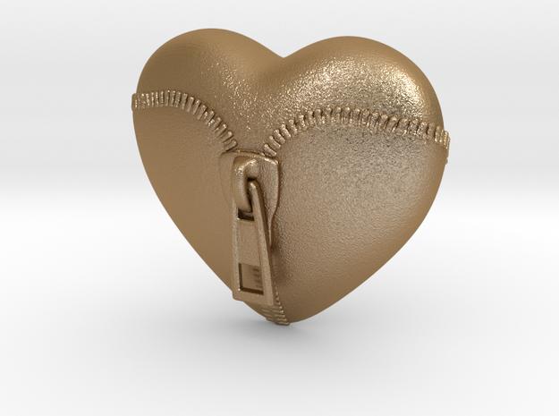 Leather Zipped Heart Pendant