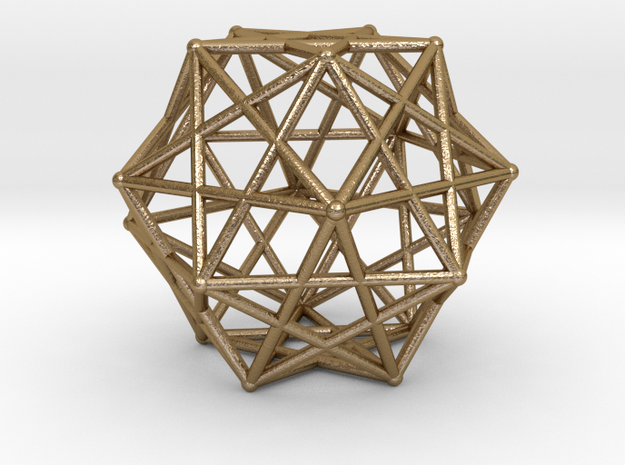 Star Cage 35mm Dodecahedral Sacred Geometry in Polished Gold Steel