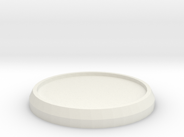 1 Inch Round Base in White Natural Versatile Plastic