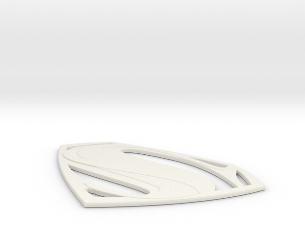 Man of Steel Emblem - Large in White Strong & Flexible